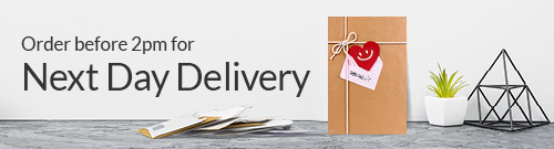 Next day delivery available message, with picture of craft packaging.