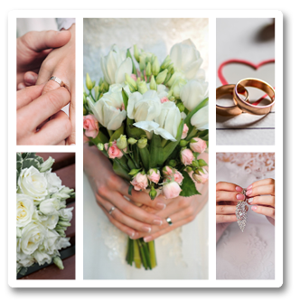 A Metalpic collage showing various images of a brides wedding